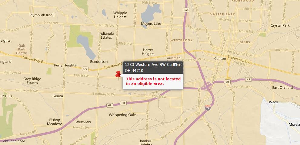 USDA Loan Eligiblity Map - 1233 Western Ave SW, Canton, OH 44710