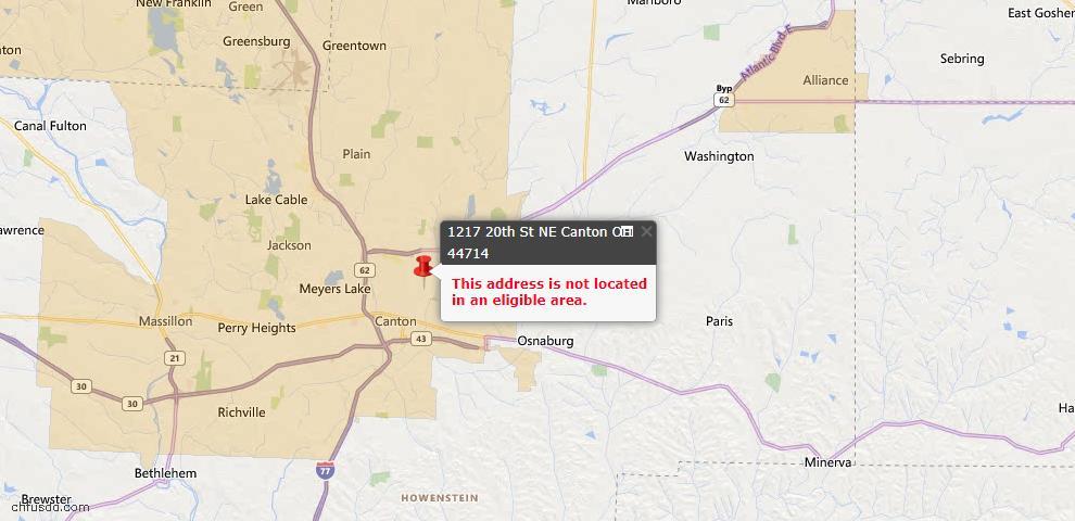 USDA Loan Eligiblity Map - 1217 20th St NE, Canton, OH 44714