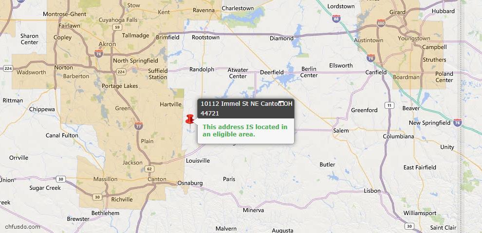 USDA Loan Eligiblity Map - 10112 Immel St NE, Canton, OH 44721