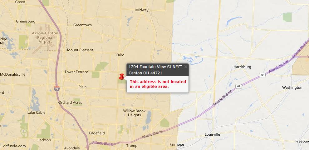 USDA Loan Eligiblity Map - 1204 Fountain View St NE, Canton, OH 44721