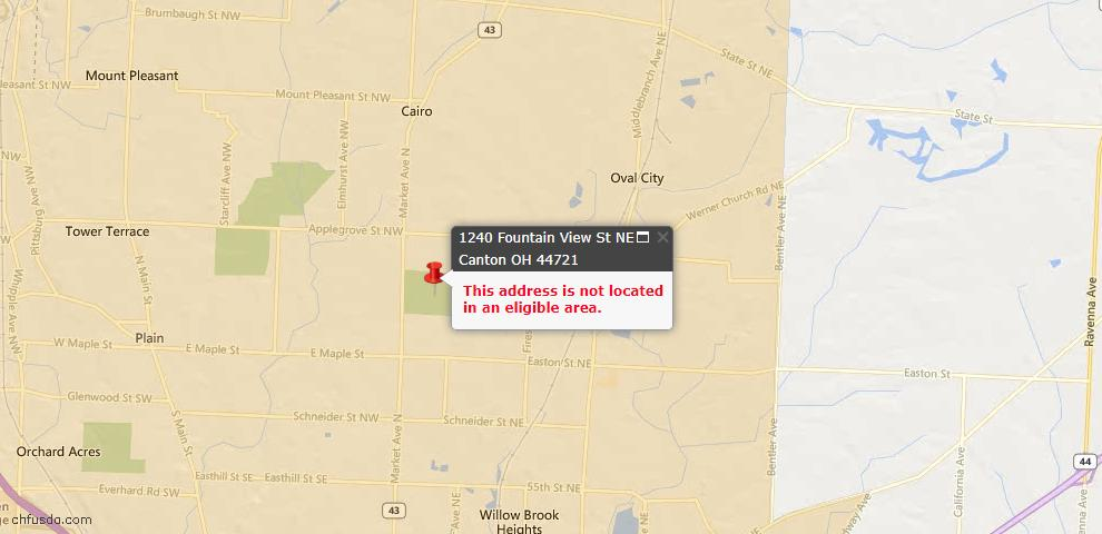 USDA Loan Eligiblity Map - 1240 Fountain View St NE, Canton, OH 44721