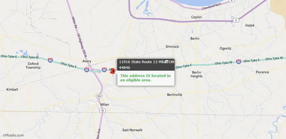 USDA Loan Eligiblity Maps From - Milan, OH
