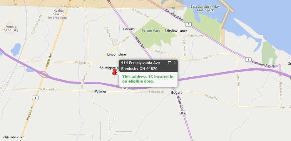 USDA Loan Eligiblity Maps From - Sandusky, OH