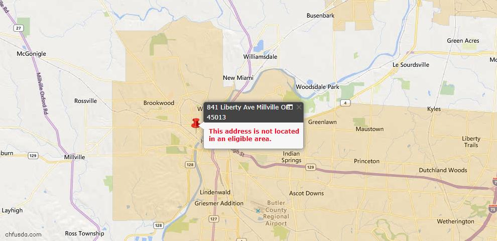 USDA Loan Eligiblity Maps From - Millville, OH