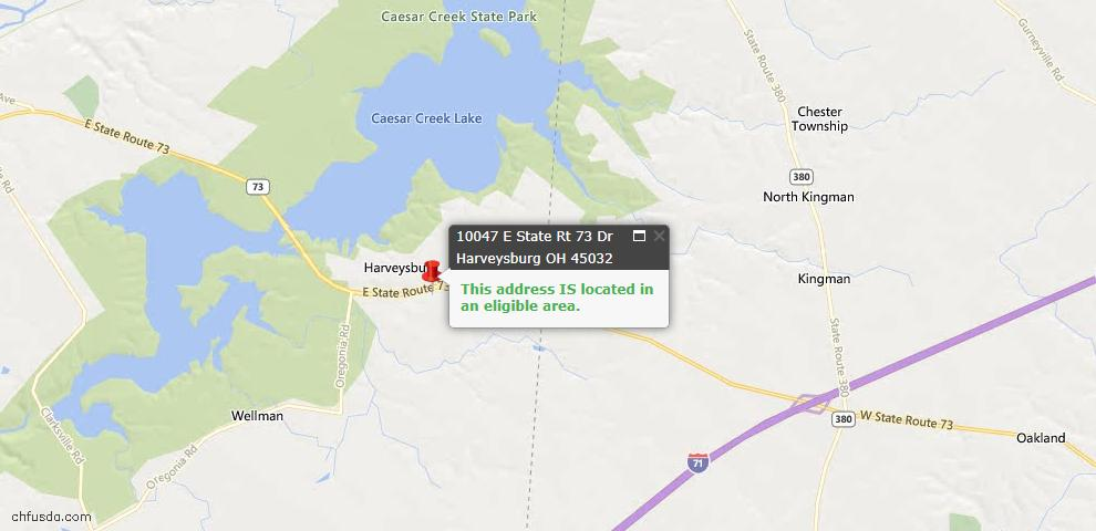 USDA Loan Eligiblity Maps From - Harveysburg, OH