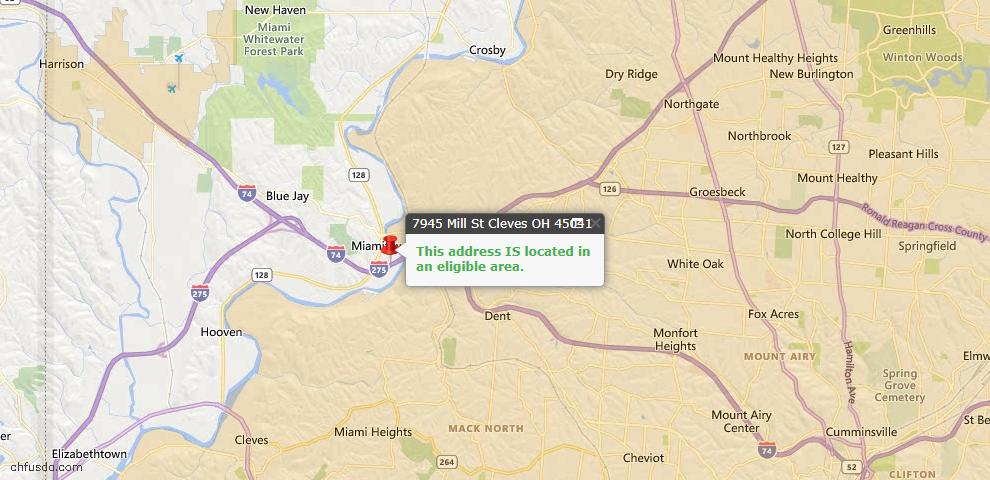 USDA Loan Eligiblity Maps From - Whitewater Twp, OH