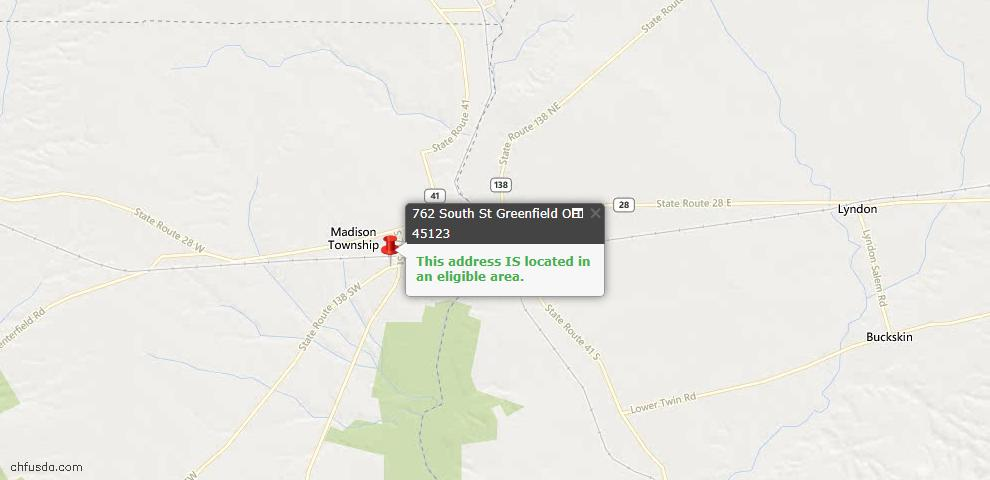 USDA Loan Eligiblity Maps From - Greenfield, OH