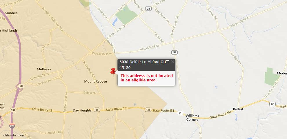 USDA Loan Eligiblity Maps From - Milford, OH