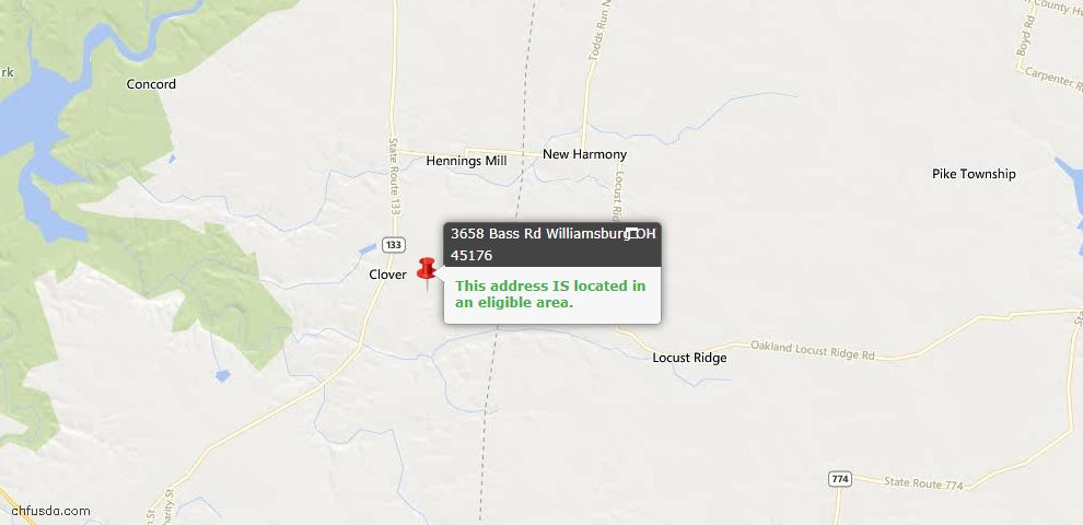 USDA Loan Eligiblity Maps From - Williamsburg Twp, OH