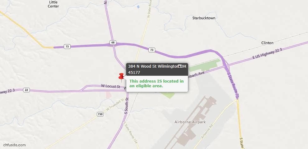 USDA Loan Eligiblity Maps From - Wilmington, OH