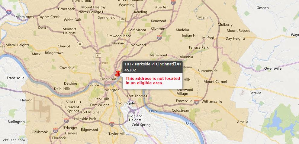 USDA Loan Eligiblity Map - 1017 Parkside Pl, Cincinnati, OH 45202