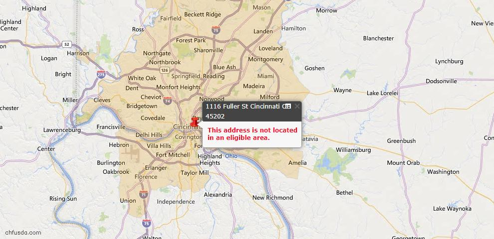 USDA Loan Eligiblity Map - 1116 Fuller St, Cincinnati, OH 45202