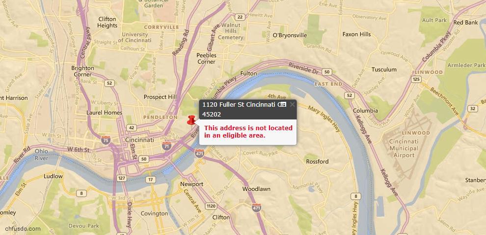 USDA Loan Eligiblity Map - 1120 Fuller St, Cincinnati, OH 45202