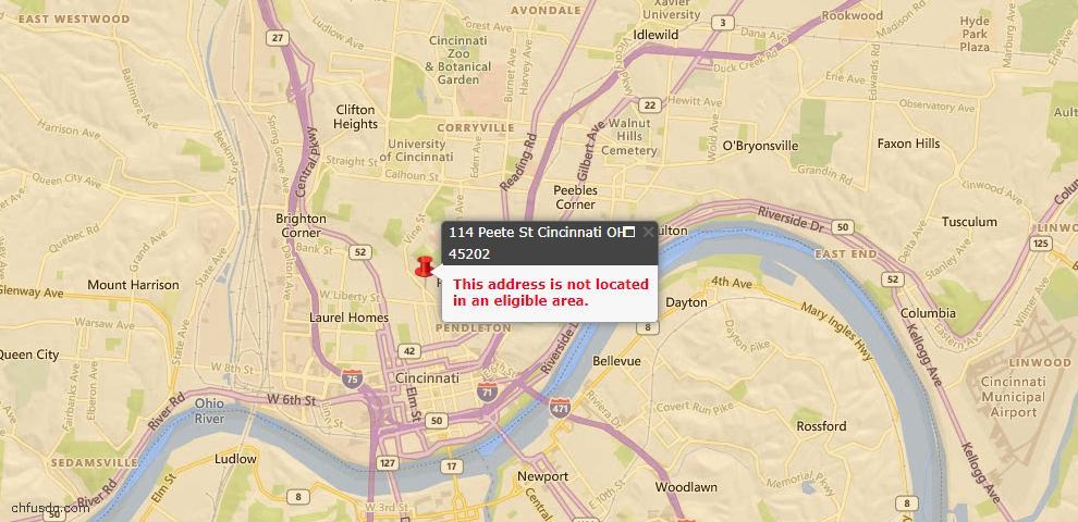 USDA Loan Eligiblity Map - 114 Peete St, Cincinnati, OH 45202