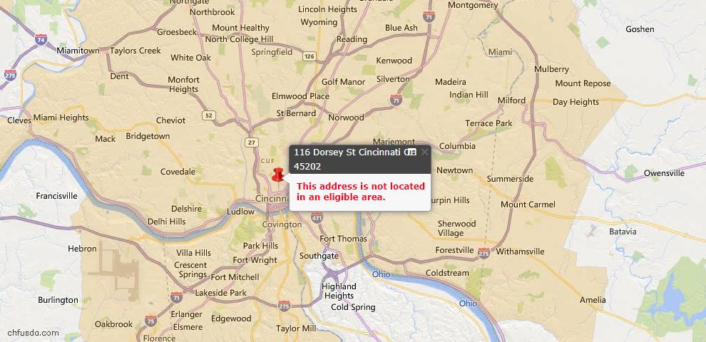 USDA Loan Eligiblity Map - 116 Dorsey St, Cincinnati, OH 45202