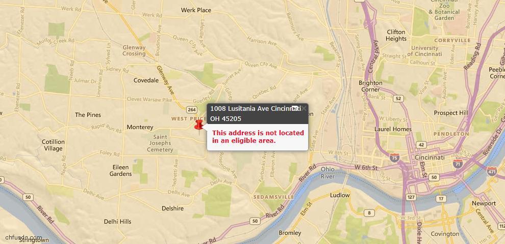 USDA Loan Eligiblity Map - 1008 Lusitania Ave, Cincinnati, OH 45205