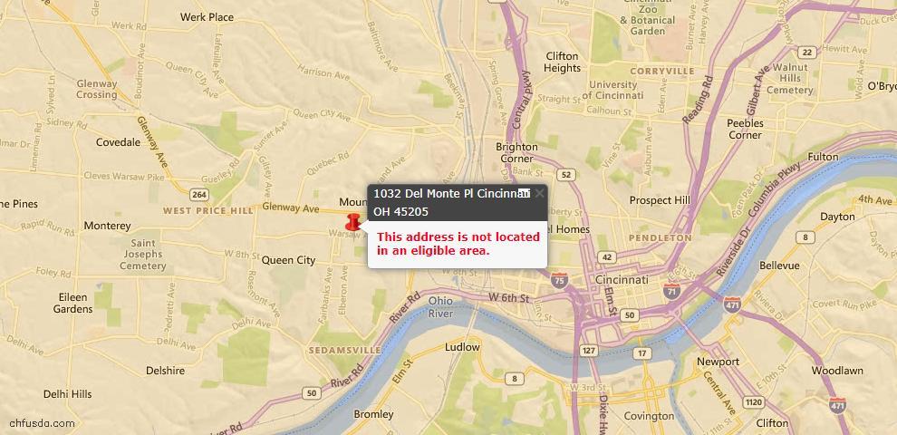 USDA Loan Eligiblity Map - 1032 Del Monte Pl, Cincinnati, OH 45205