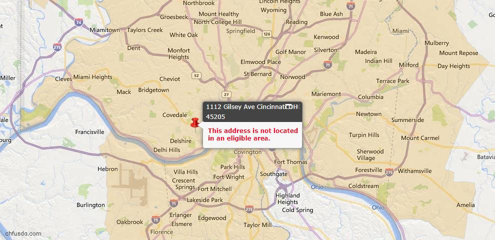 USDA Loan Eligiblity Map - 1112 Gilsey Ave, Cincinnati, OH 45205