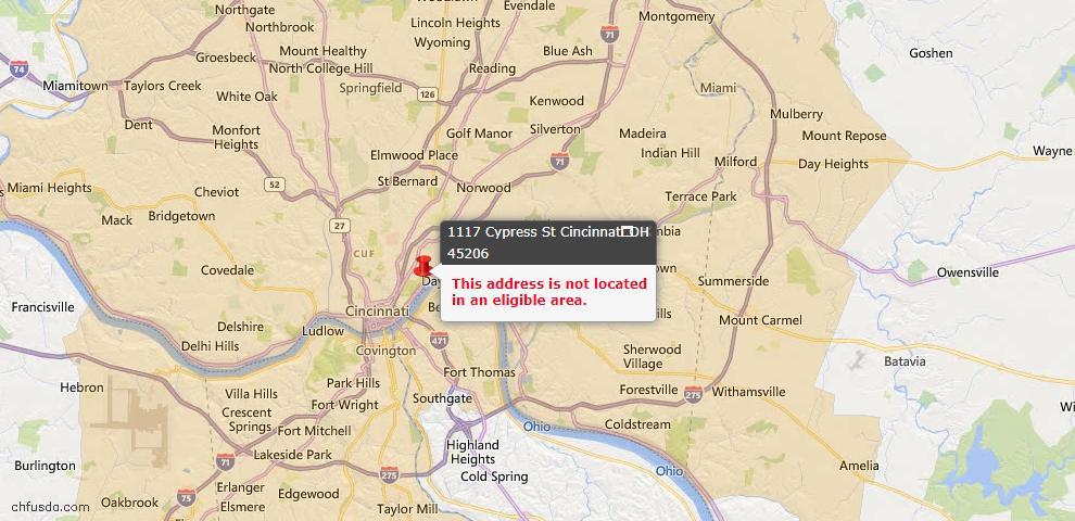 USDA Loan Eligiblity Map - 1117 Cypress St, Cincinnati, OH 45206