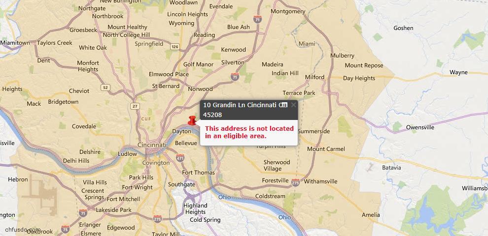 USDA Loan Eligiblity Map - 10 Grandin Ln, Cincinnati, OH 45208