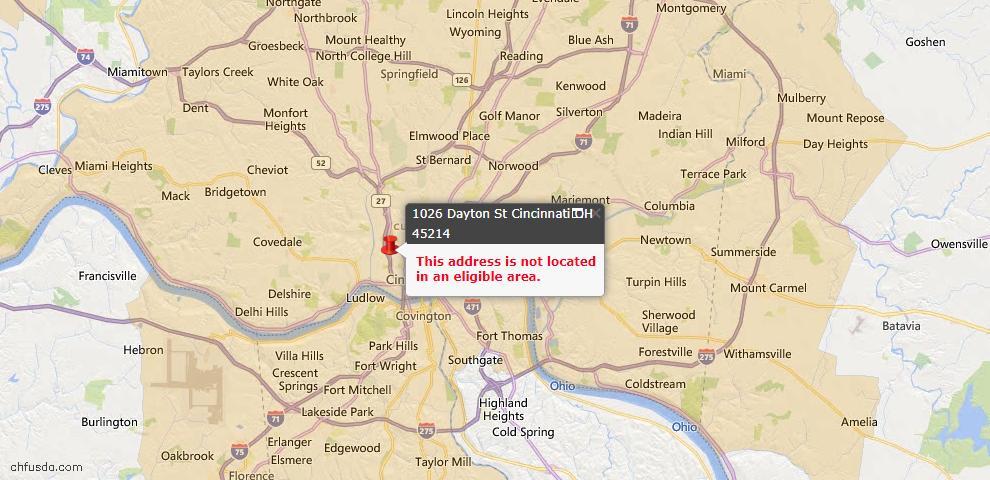 USDA Loan Eligiblity Map - 1026 Dayton St, Cincinnati, OH 45214