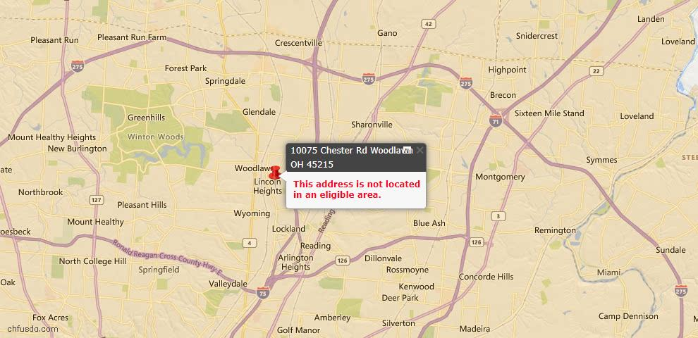 USDA Loan Eligiblity Map - 10075 Chester Rd, Woodlawn, OH 45215