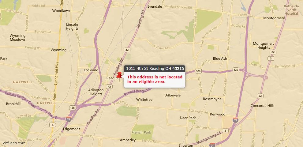 USDA Loan Eligiblity Map - 1015 Fourth St, Reading, OH 45215