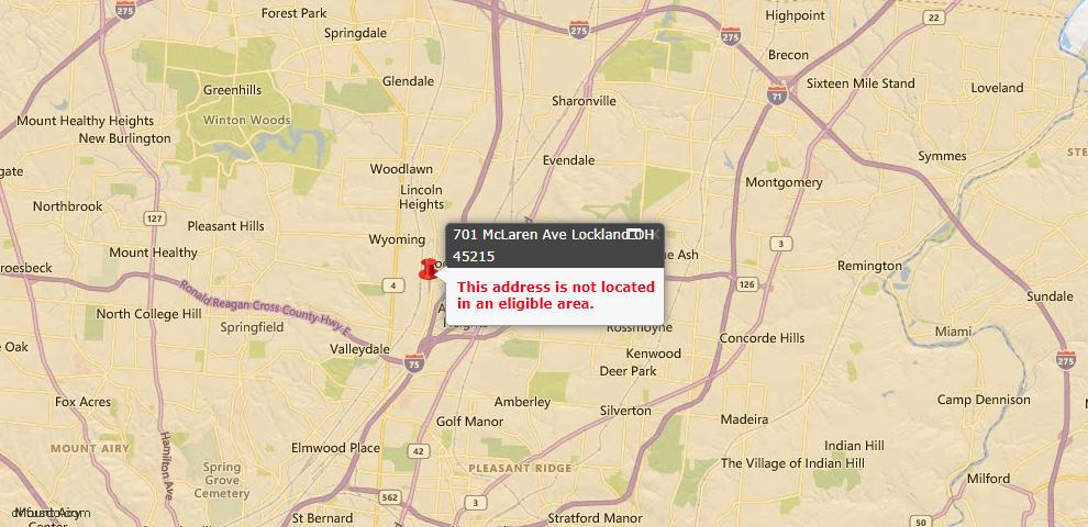 USDA Loan Eligiblity Maps From - Lockland, OH