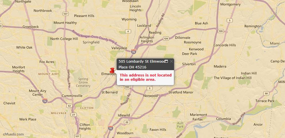 USDA Loan Eligiblity Maps From - Elmwood Place, OH