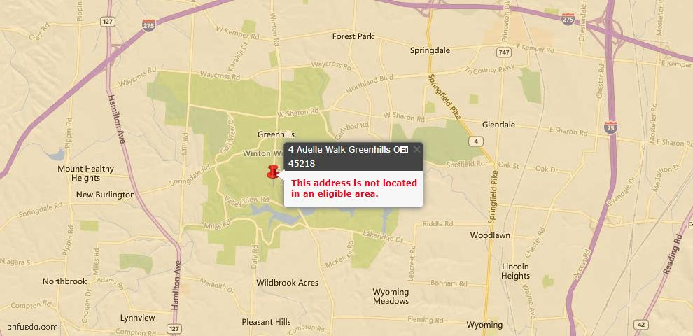 USDA Loan Eligiblity Maps From - Greenhills, OH