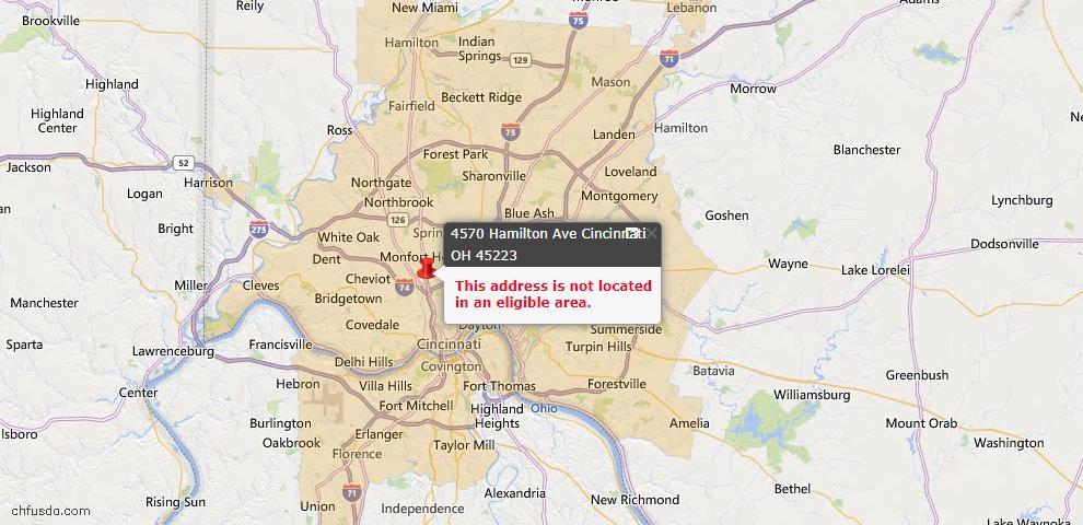 USDA Loan Eligiblity Map - 4570 Hamilton Ave, Cincinnati, OH 45223