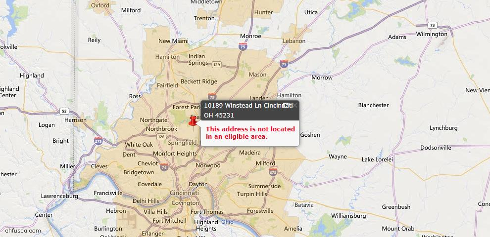 USDA Loan Eligiblity Map - 10189 Winstead Ln, Springfield Twp., OH 45231