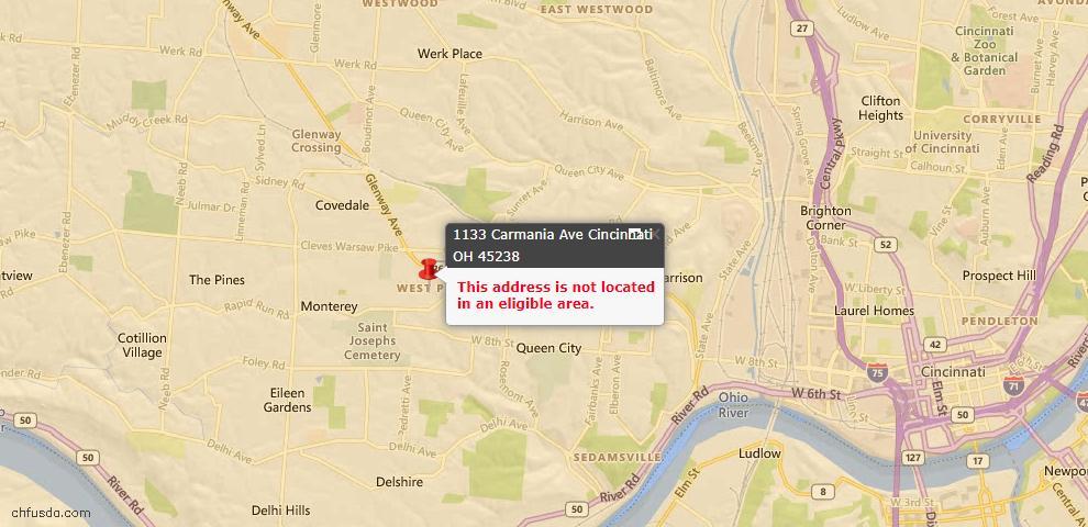 USDA Loan Eligiblity Map - 1133 Carmania Ave, Cincinnati, OH 45238