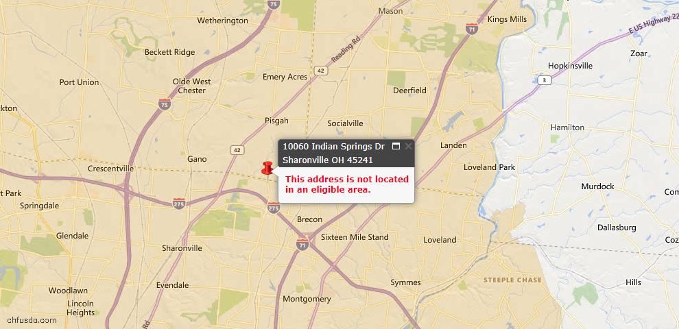 USDA Loan Eligiblity Map - 10060 Indian Springs Dr, Sharonville, OH 45241