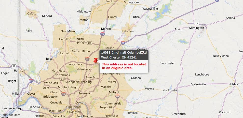 USDA Loan Eligiblity Map - 10088 Cincinnati Columbus Rd, West Chester, OH 45241