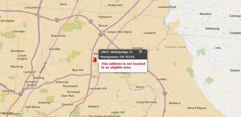 USDA Loan Eligiblity Map - 10057 Whitebridge Ct, Montgomery, OH 45242