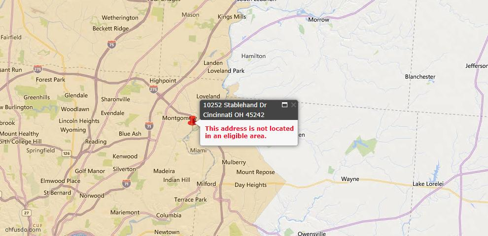 USDA Loan Eligiblity Map - 10252 Stablehand Dr, Symmes Twp, OH 45242