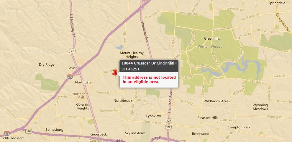 USDA Loan Eligiblity Map - 10044 Crusader Dr, Colerain Twp, OH 45251