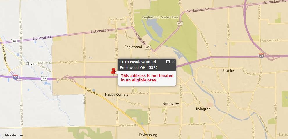 USDA Loan Eligiblity Map - 1010 Meadowrun Rd, Englewood, OH 45322