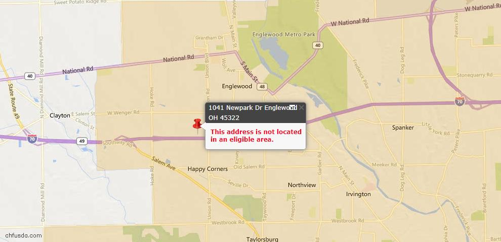 USDA Loan Eligiblity Map - 1041 Newpark Dr, Englewood, OH 45322