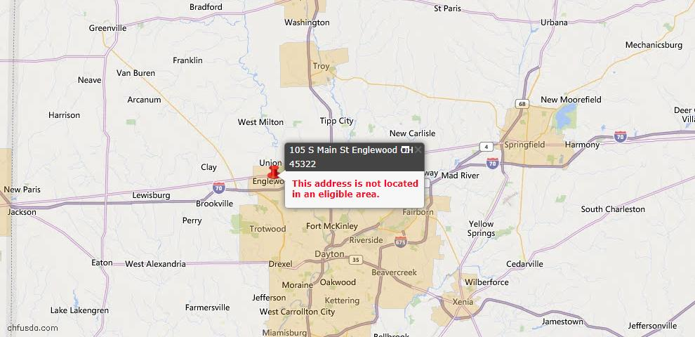 USDA Loan Eligiblity Map - 105 S Main St, Englewood, OH 45322
