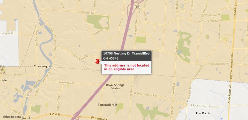 USDA Loan Eligiblity Map - 10708 Nestling Dr, Miamisburg, OH 45342
