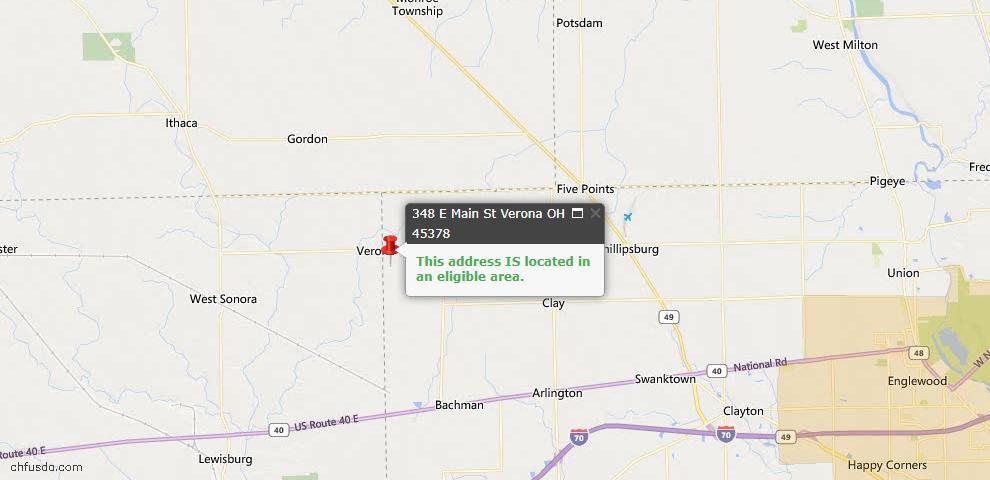 USDA Loan Eligiblity Maps From - Verona, OH