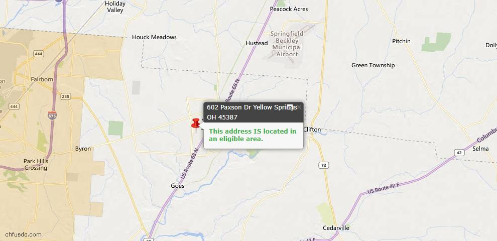 USDA Loan Eligiblity Maps From - Yellow Springs, OH