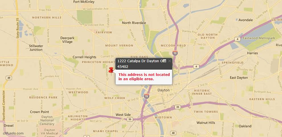 USDA Loan Eligiblity Map - 1222 Catalpa Dr, Dayton, OH 45402