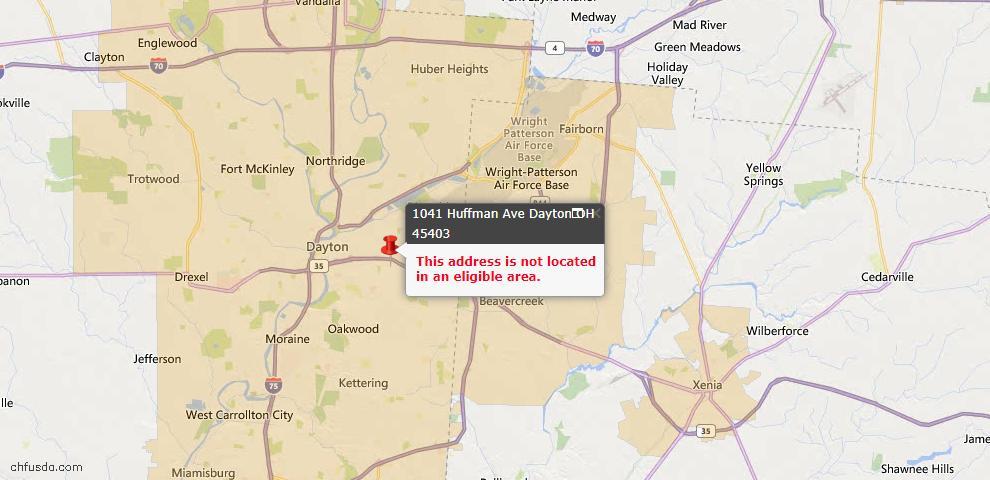 USDA Loan Eligiblity Map - 1041 Huffman Ave, Dayton, OH 45403