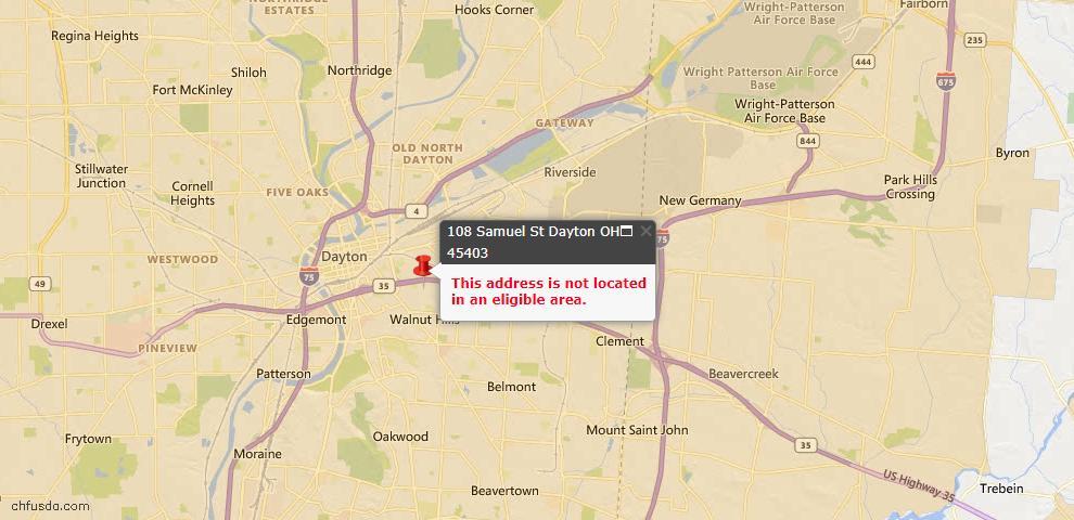 USDA Loan Eligiblity Map - 108 Samuel St, Dayton, OH 45403