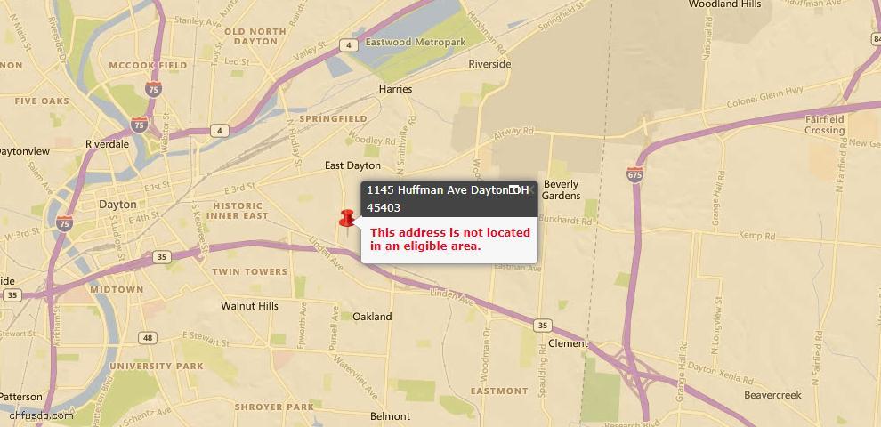 USDA Loan Eligiblity Map - 1145 Huffman Ave, Dayton, OH 45403