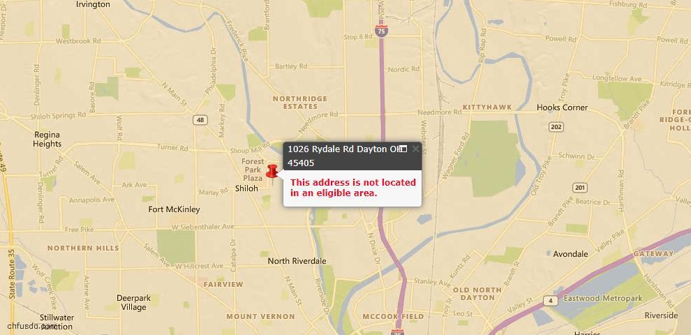 USDA Loan Eligiblity Map - 1026 Rydale Rd, Harrison, OH 45405
