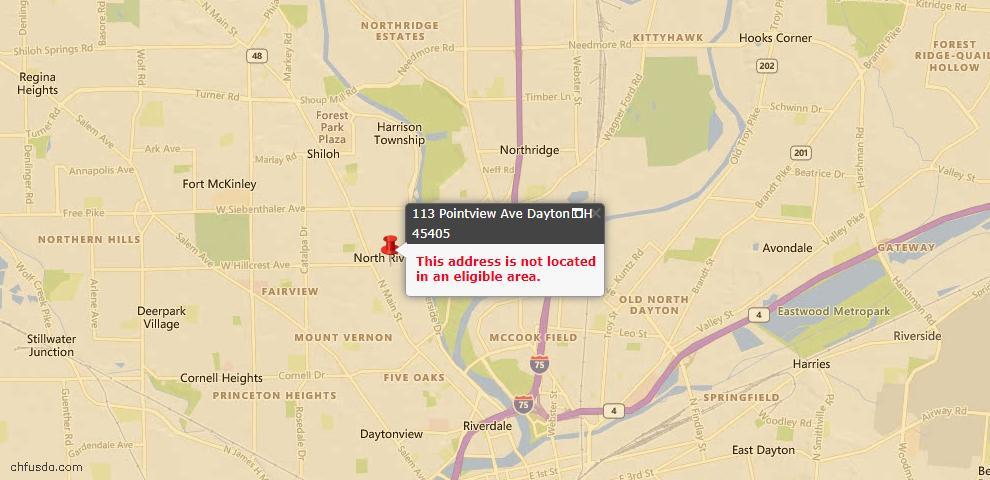 USDA Loan Eligiblity Map - 113 Pointview Ave, Dayton, OH 45405